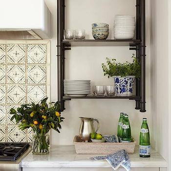 Black Plumbing Pipe Kitchen Shelves