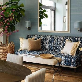 Blue Batik Sofa With French Burlap Bench As Coffee Table