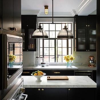 White Kitchen cCabinets with Brass Pulls - Cottage - kitchen