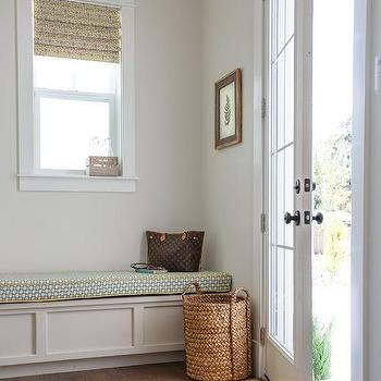 Yellow And Blue Mudroom Bench Cushion Design Ideas