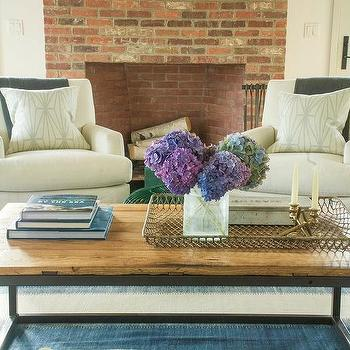 Off White Chairs With Wood And Metal Frame Coffee Table