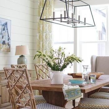 Yellow And Tan Beach Cottage Dining Room Design Ideas
