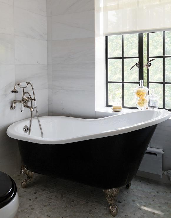 Elegant Black Vintage Bathtub On Marble Hex Tiles