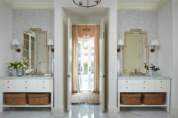 His and Her Washstands Flanking Bi Fold Bathroom Doors ...