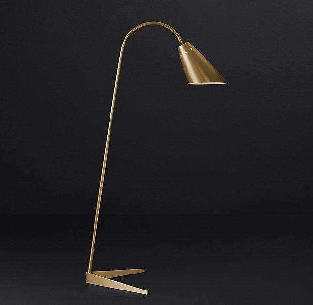 Arched brass task floor lamp vincent arched brass task floor lamp mozeypictures Image collections