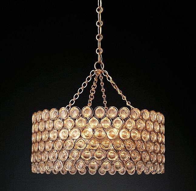 Delany Warm Drum Crystals Chandelier - Chandelier jewels crystals