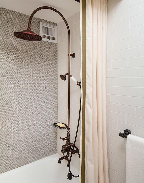 pale pink shower curtain. Gray Penny Tiles On Shower Wall  Transitional Bathroom