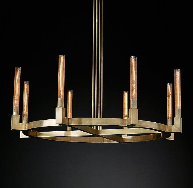 Cannele round ribbed glass brass chandelier aloadofball Image collections