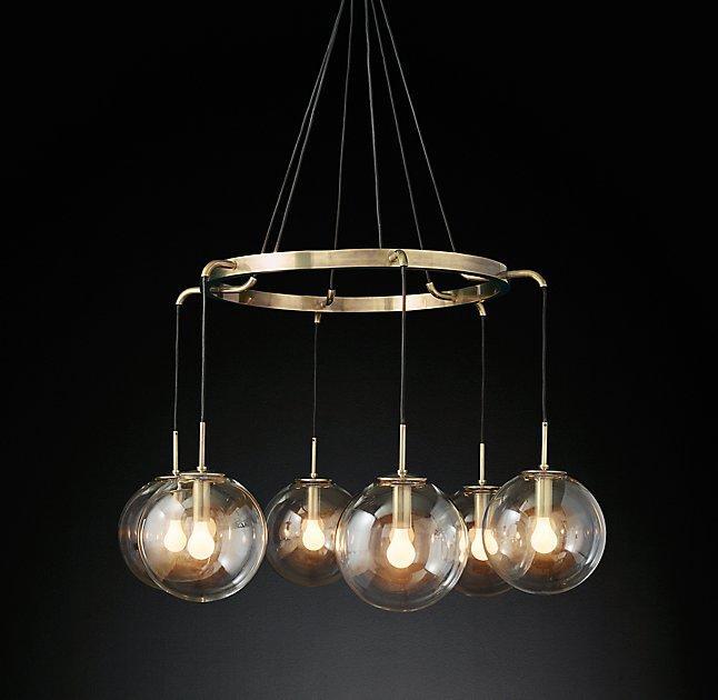 Alessa brass glass globe 5 light chandelier languedoc suspended glass globes chandelier aloadofball Images