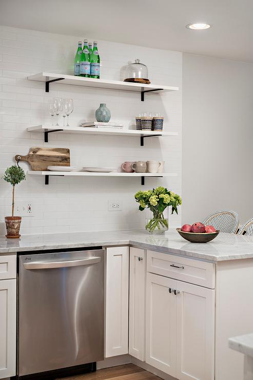 Stacked Marble Kitchen Shelves With Iron Brackets Transitional