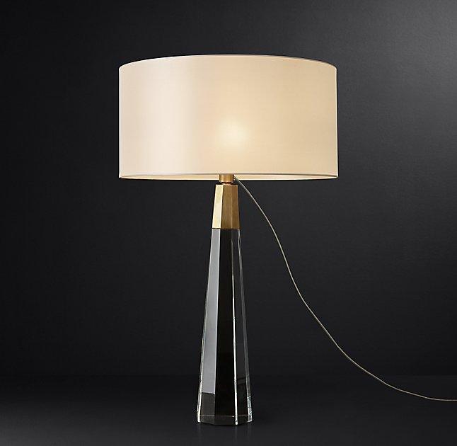 Klein Brass Crystal Pyramid Table Lamp