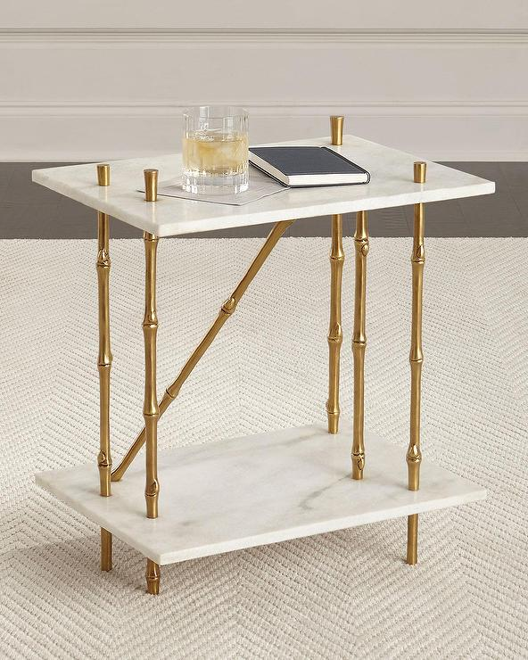 Superior Ambella Gold Bamboo Marble Side Table