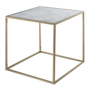 Thurston modern brass metal cube white quartz side table for Cube side table