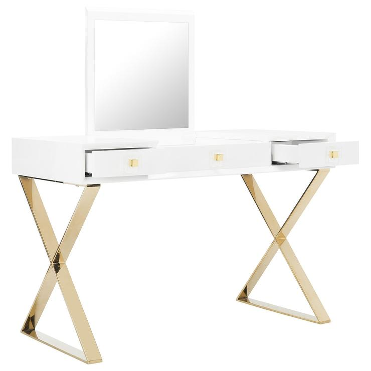 Yesenia White Gold Mirror Vanity Table