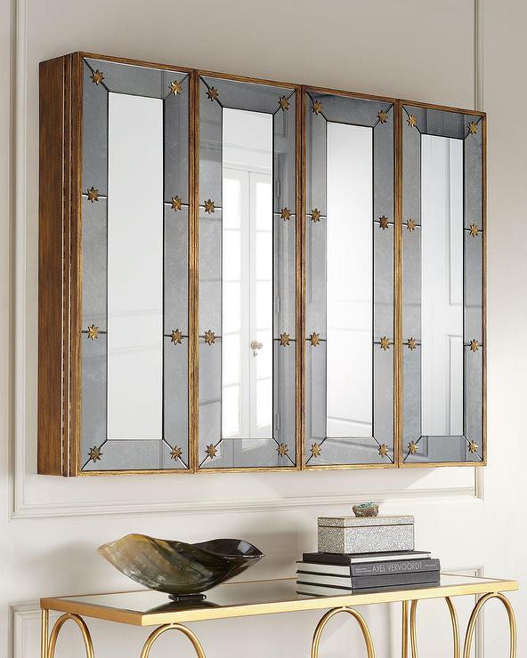 Rectangular Gold Mirrored Tv Cabinet