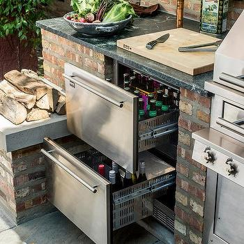Outdoor Kitchen With Stacked Beverage Fridge Drawers