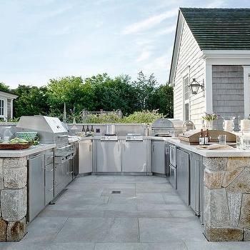 White Granite Outdoor Kitchen Countertops Design Ideas