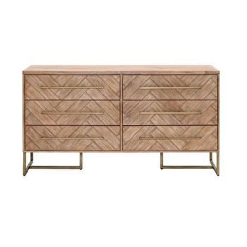 post modern wood furniture. herringbone wood brass double dresser post modern furniture