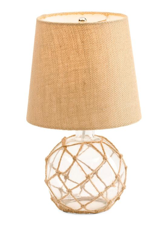 Glass Globe Rope Table Lamp