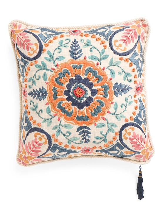 Embroidered Floral Print Reversible Pillow