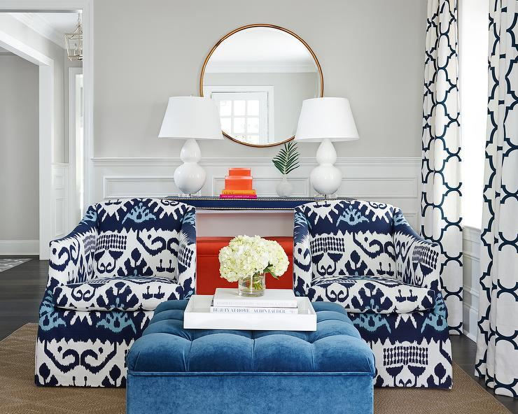 Groovy Blue Ikat Chairs Contemporary Living Room Ibusinesslaw Wood Chair Design Ideas Ibusinesslaworg