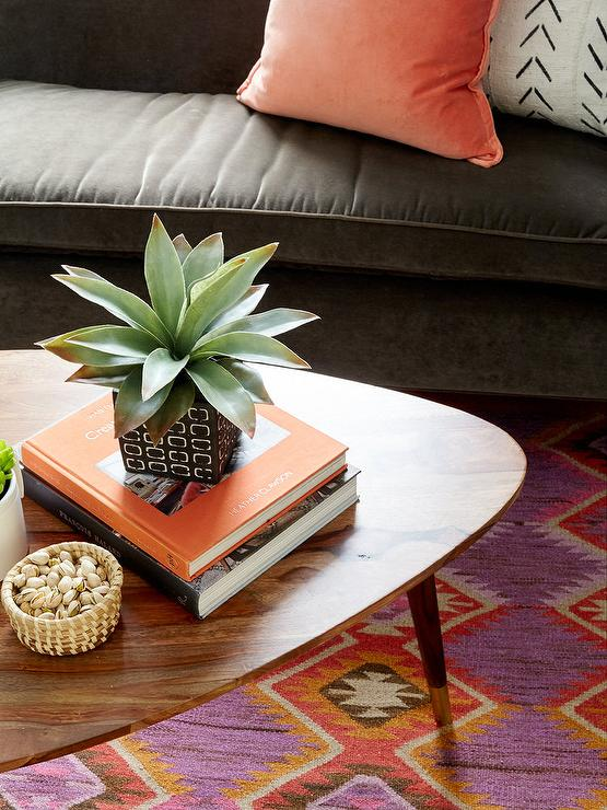 Brown Velvet Sofa With Orange Velvet Pillows