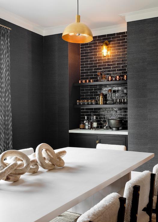 Gold Grasscloth Bar Wallpaper Design Ideas