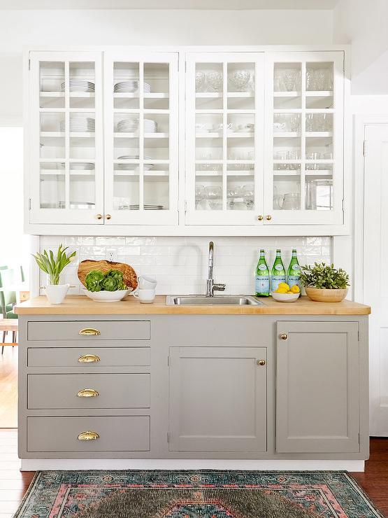 Garage Style Kitchen Cabinets Transitional Kitchen