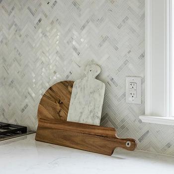 White And Gray Herringbone Marble Kitchen Backsplash Tiles