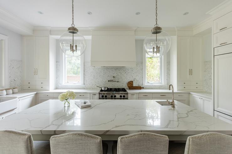 Quartz Countertop Looks Like Marble Transitional Kitchen
