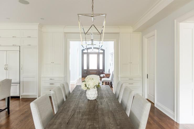 Reclaimed Wood Dining Table with Light Gray Dining Chairs & Reclaimed Wood Dining Table with Light Gray Dining Chairs ...