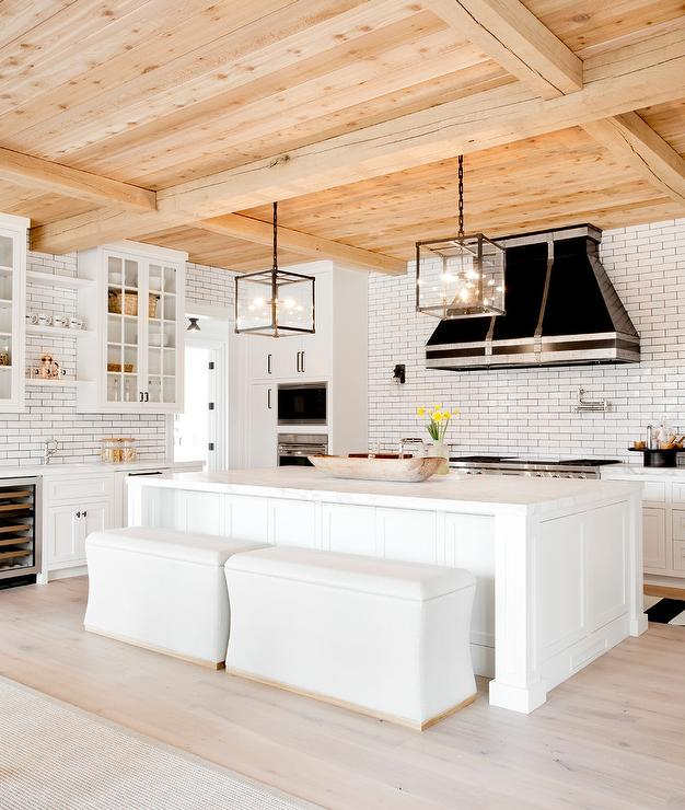 White Storage Bench for Island Seating - Transitional - Kitchen