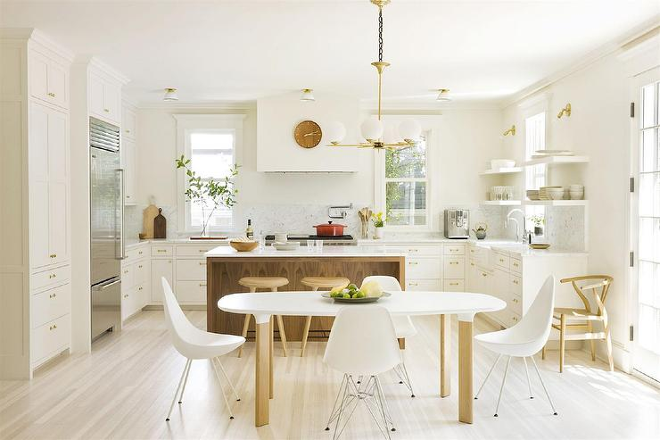 U Shaped Kitchen with Stained Island - Transitional - Kitchen on