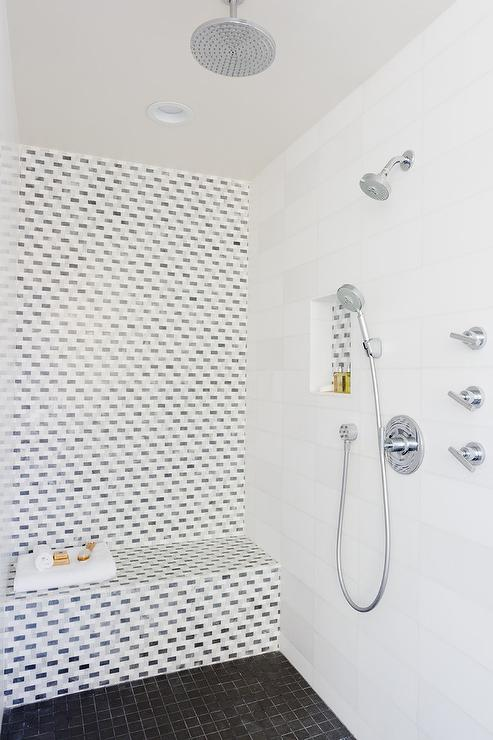 Mosaic Tiled Shower Accent Wall Contemporary Bathroom
