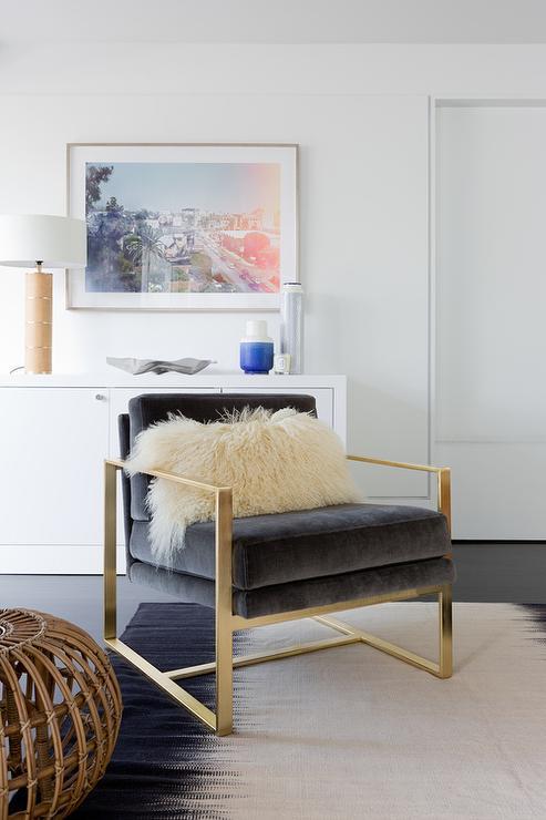 Dark Gray Velvet Chair On Brass Base