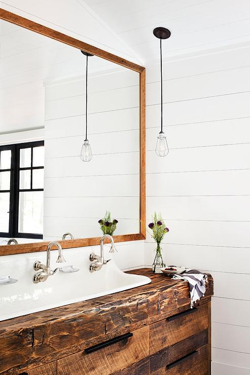 Reclaimed Wood Washstand With Trough Sink