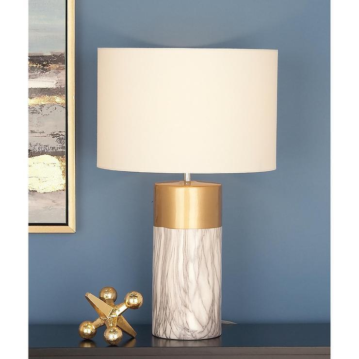 White Marble Gold Column Lamp