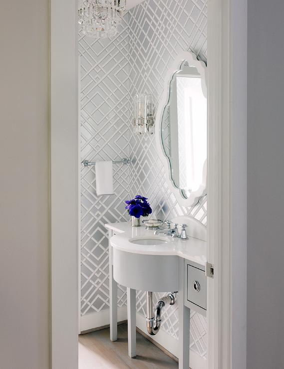 White And Silver Trellis Powder Room Wallpaper