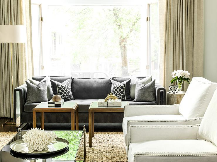 Dark Gray Sofa With Black Trellis Pillows