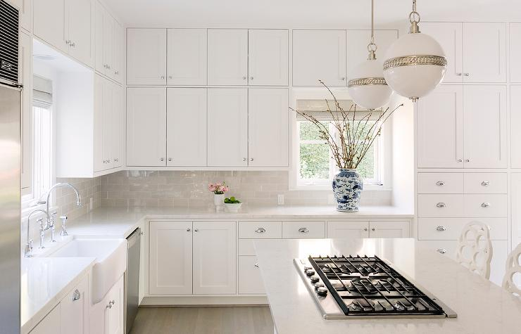 Dove Gray Subway Tiles With White Shaker Cabinets