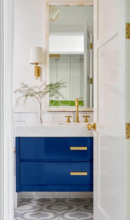 Gold And Blue Bathroom With Fish Scale Tiles