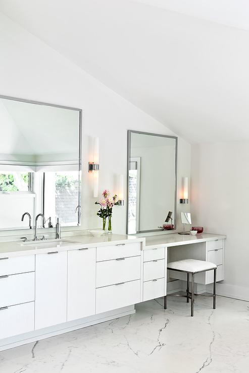 White Flat Front Bath Vanity Cabinets - Transitional - Bathroom
