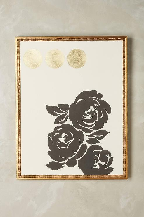 Contemporary Gold Foil Floral Wall Art