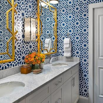 Navy Blue Moroccan Wallpaper With Gold Bamboo Mirrors
