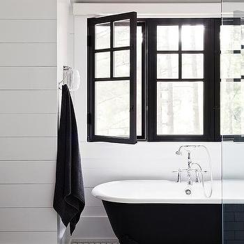 Black and White Kids Bathroom with Shiplap Trim