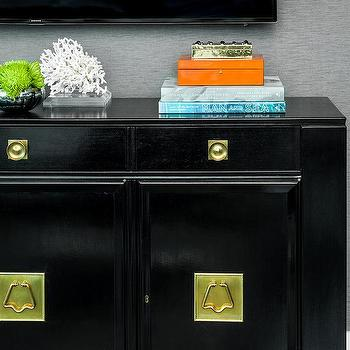 White Campaign Tv Cabinet With Brass Hardware Hollywood
