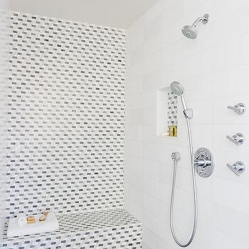 white shower tile. mosaic tiled shower accent wall white tile