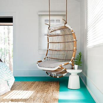 Kid Bedroom Hanging White Rattan Chair Design Ideas