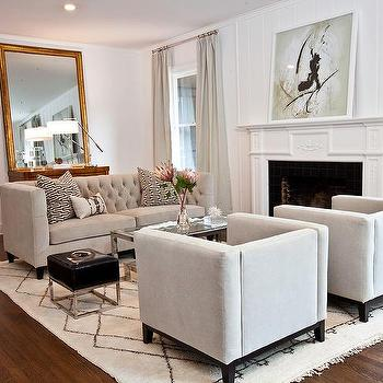 light gray living room with bernhardt paxton coffee table