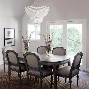 Clear beaded two tier chandelier design ideas oval dining table with gray dining chairs aloadofball Gallery